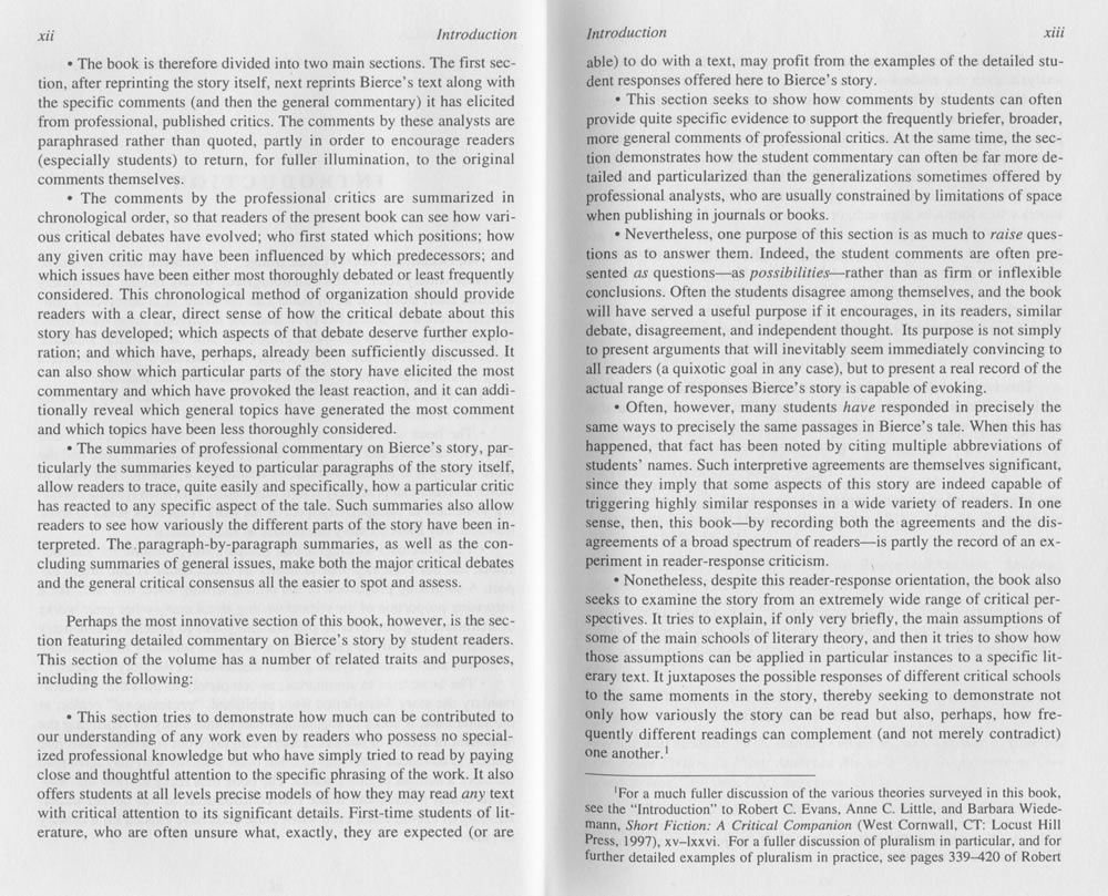 robert c evans annotated critical edition of an occurrence at critical companion west cornwall ct locust hill press 1997 xv lxxvi for a fuller discussion of pluralism in particular and for further detailed